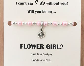 Flower Girl Bracelet, Flower Girl Pearls, Pearl Bracelets, Flower Girl Proposal, Proposal Bracelet, Briday Party Gift, Ivory Pearls, White