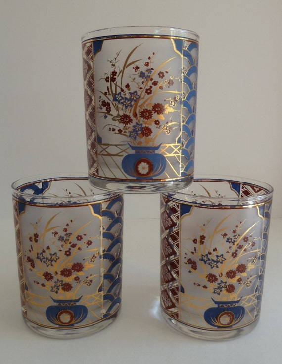 Vintage rocks glasses//Culver whiskey low ball//Asian glasses//gold trim//Vintage barware//floral vase design/fan design/diamond/Asian decor