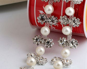 1 yard Rhinestone trim/ Rhinestone Chain/ Formal gown belt/ rhinestone Swarovski shine silver,gold with pearl