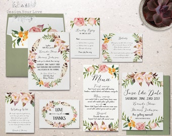 printable wedding invitation set printable floral wedding invite boho wedding invitation suite bohemian watercolor floral spring wedding