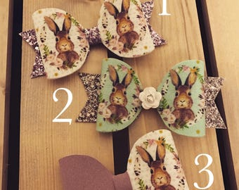 Handmade rabbit print glitter hairbows - Half and half - mint - suede