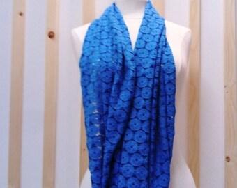 Chèche blue, blue scarf, blue lace check