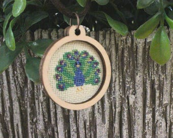 Finished Necklace  Cross Stitch, Embroidery Necklace, Handmade Jewelry