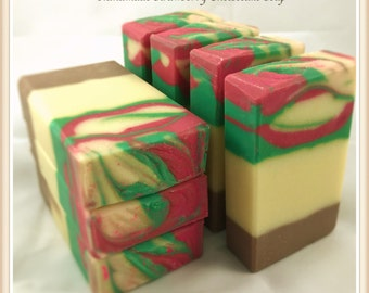 Handmade Strawberry Cheesecake Soap / Tall and Skinny Soap / Artisan Soap / Handcrafted Soap
