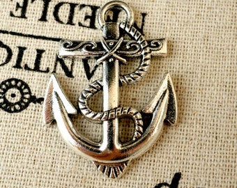 Anchor charms 3 antique silver vintage style pendant charm jewellery supplies C194