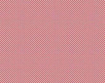 Pink Dot Fabric - Posy Garden Grid Pink - Coral Polka Dot Cotton