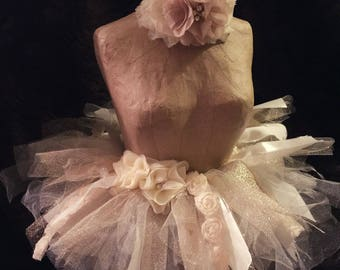 Shabby chic infant ivory & gold tutu for Photo Shoots! Photo prop