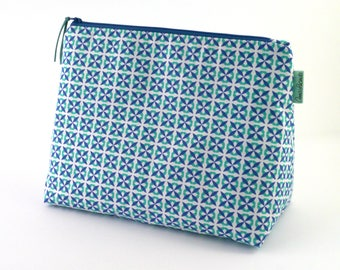 Turquoise and Blue Toiletry Bag, Geometric Wash Bag, Large Zipper Bag, Zipper Pouch, Handmade Waterproof Wash Bag, Gift for Her