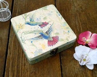Jewelry Box, Hummingbird Box, Wooden Box,Storage box, Turquoise Box, Keepsake Box, Bird Box, Decoupaged box, Motley Box, Hand decorated box