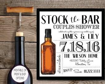 Stock the Bar Shower Invitation- Digital Download