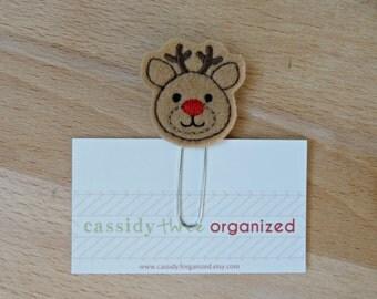 Reindeer Planner Clip, Reindeer Organizer Clip, Christmas Planner Clip, Reindeer, Stocking Stuffer Calendar, Bookmark