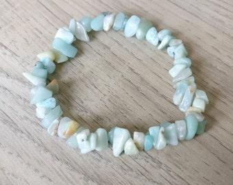 Bracelet naturestone, bracelet amazonite, armband chips, yoga bracelet