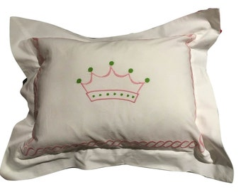 Embroidered Pink Crown Pillow