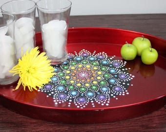 Rainbow Flower Large Jewel Drop Mandala Tray