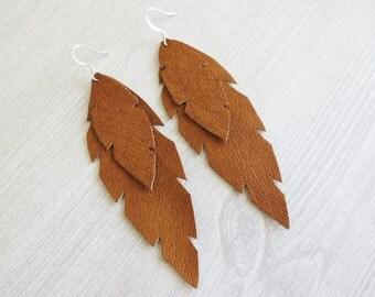 Tan brown vegan leather feather earrings | Boho feather earrings | Feather earrings | Leather earrings | Double feather earrings