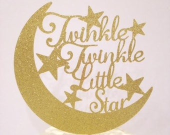 Twinkle Twinkle Little Star(s) Cake Topper / Baby Shower / Baby Reveal / Birthday Cake Topper in Sparkling Glitter