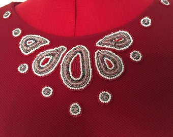 Top 3 quarter length sleeves Red beading embroidery