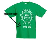 Green Monster Shirt, Children shirt, customizable shirt, name shirt, toddler shirt, godzilla shirt, child gift, personalized shirt, tee