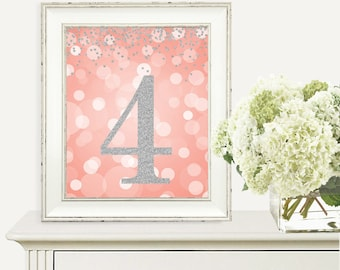 4th Birthday Party Sign, Number 4, 4th Birthday Party, Fourth Birthday, Coral and Silver Glitter, Printable Party Decorations, Digital Print