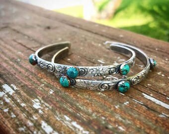 Sterling Silver floral engraved cuff bracelet with Turquoise set in copper