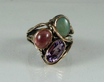 17-G- anello in argento,oro rosa,opale,tormalina,ametista
