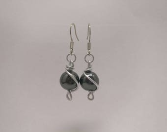 -Wire wrapped gemstone earrings-Gemstone-Hematite