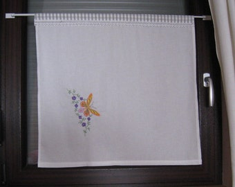 """opaque white Scheibengardine with embroidery butterfly, approx. h66xb64cm - h26x25, 25B"", Scheibengardine, curtain,."