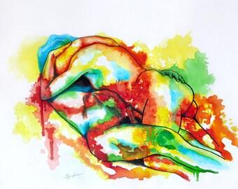 Lover's embrace - Art Print Watercolor