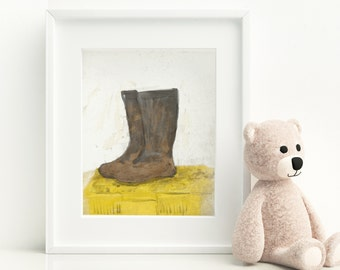 Boots Art Print, Nursery Decor Printables, Boots Nursery Decor, Kids Art Prints, Kids Room Art, Printable Art, art print, Nursery Art Print