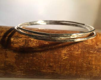 Sterling Silver Stacking Bangles x 3 With a Hammered Finish