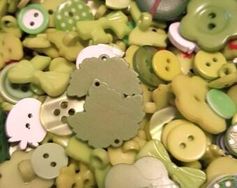 50g Button mix, Buttons, Craft buttons, Sewing buttons, Assorted buttons, Mixed buttons, Bulk buttons, Scrapbooking buttons, Green
