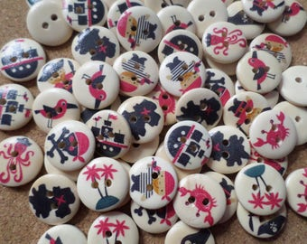 18mm Pirate buttons, Pirates, Pirate theme, Wooden buttons, Buttons, Sewing buttons, Scrapbooking buttons, 2-Hole buttons, Treasure island