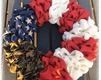 American Flag Military Burlap Wreath