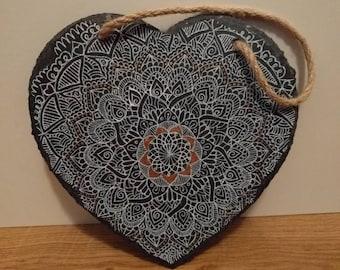 Heart Shaped Hanging Slate. 20cm x 20cm Mandala design, white and copper.
