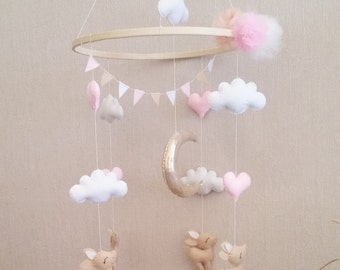 Mobile fawns and hearts in felt