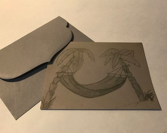 Homemade Greeting Card 5x7- Relaxing Island Breeze- Hammock between Palm Trees- Grayscale. Created from an original sketch