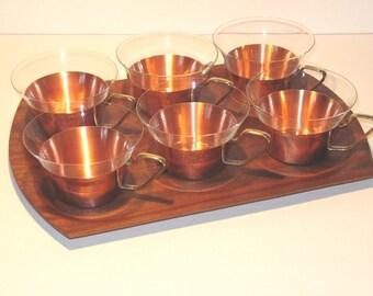 Vintage 60s tea glasses on teak tray