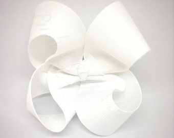 White Bow, girl bows, big bows, bows for girls, 4 inch Hair Bows, Baby Bows, Hair Bows with Clips, Baby Hair Bows, Toddler Hair Bows