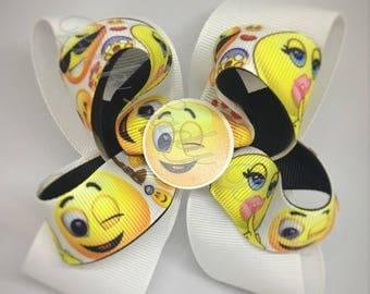 Emoji Bow, emoji bow, smiley emoji bow, girl bows, hair bows, pinwheel bow, emoji, bows for girls, hair bows for girls, custom bows