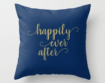 Happily Ever After Pillow Covers 20x20, Wedding Pillow Cover 18x18 Navy and Gold Decor Throw Pillows with Words Decorative Pillows For Couch