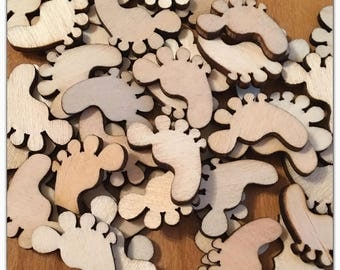 45 pcs wood cut out feet bare wood craft supplies scrapbooking embellishment shapes baby unfinished paintable footprints shower card