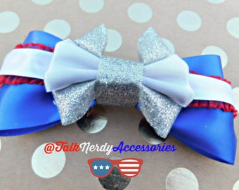 Blue Red White and Silver Patriotic Hair Bow