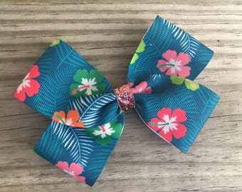 Teal Floral Bow
