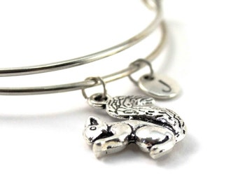 SQUIRREL bangle, silver squirrel bracelet, squirrel charm, initial bracelet, adjustable bangle, personalized jewelry, swarovski birthstone