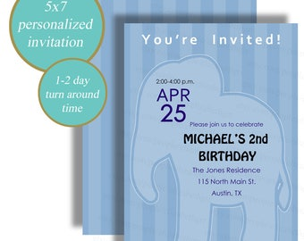 Baby Elephant Birthday Invitation, Blue Birthday Card, Elephant Party - Digital File