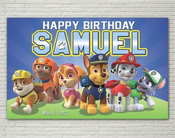BANNER - Paw Patrol Birthday Banner - Party Banner