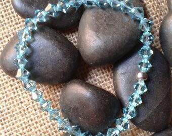 Aquamarine, month March, elastic bracelet, swarovski crystals, birthday gift
