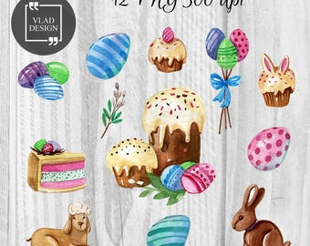 12 Watercolor Happy Easter Elements Easter Clipart Digital Easter Elements Cute spring graphics Easter clipart Eggs Cakes