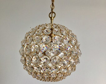 Palwa Ball Shaped Crystal Chandelier 1960s Mid Century Modern