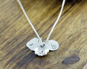 Mom Necklace - Children's Initial Necklace - Silver Disc Initial Necklace - Push Present - Mommy Jewelry, Grandma Necklace, Mothers Necklace